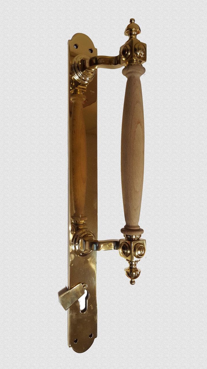 Ручка дверная опорная Куб боковой на пластине (дубовая державка), арт: 01-001-НП