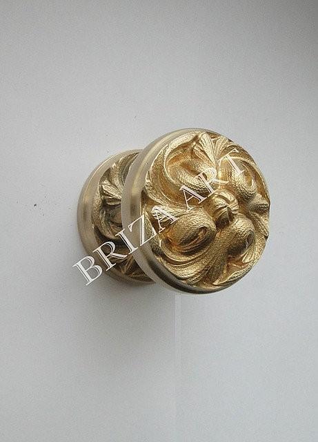 Межкомнатная поворотная ручка Круглая цельнолатунная, арт: 02-018