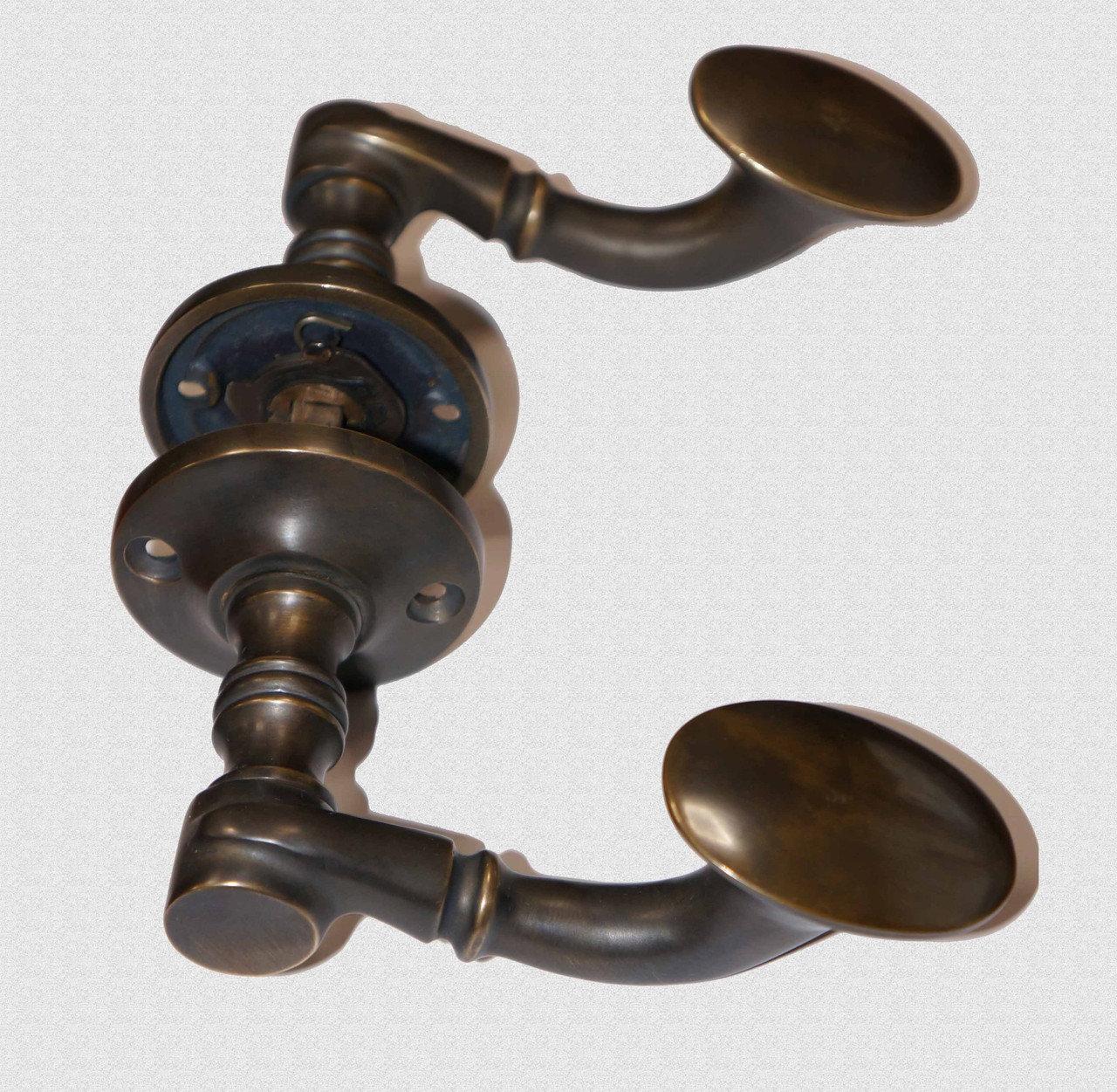 Межкомнатная дверная ручка Музейная в патине, арт: 02-014-П