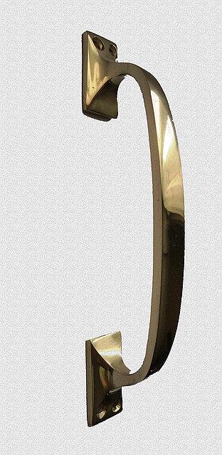 Ручка оконная скоба простая - латунь, никель, арт: 03-017