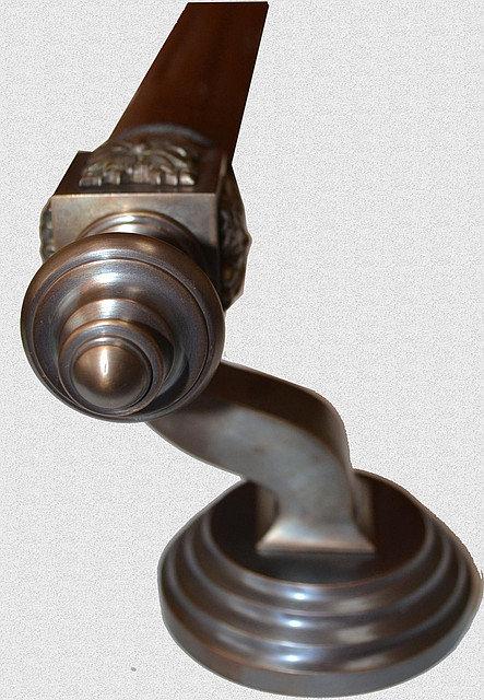 Ручка дверная опорная Куб Классический с канелюрами в медной патине, арт: 01-003-К