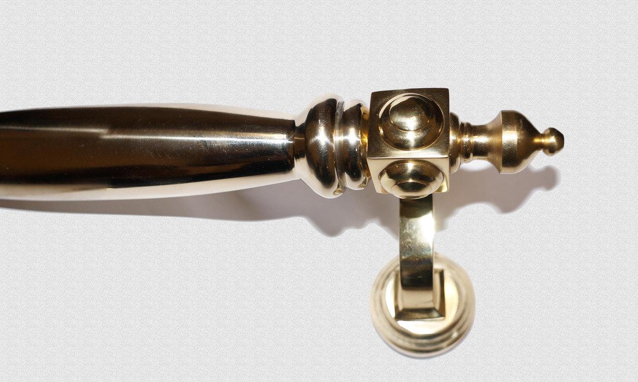 Ручка дверная опорная Куб боковой с латунной державкой, арт: 01-001-ЛД
