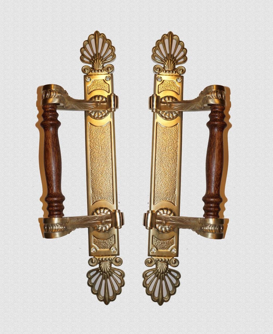 Ручка дверная опорная с завитками на пластине с лопухами, арт: 01-058