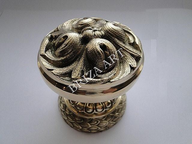 Ручка дверная опорная Круглая цельнолатунная, арт: 01-033